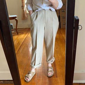 Vintage Tan High Rise Pleat Front Full Leg Pants